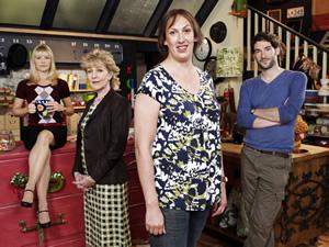Miranda. Image shows from L to R: Stevie (Sarah Hadland), Penny (Patricia Hodge), Miranda (Miranda Hart), Gary (Tom Ellis). Image credit: British Broadcasting Corporation (BBC).
