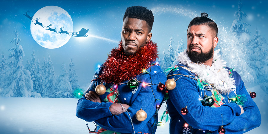 Humza Arshad's Xmas. Image shows from L to R: Mo Gilligan, Humza Arshad. Copyright: Big Deal Films.