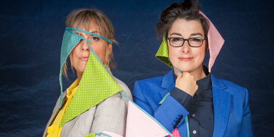 The Great British Bake Off. Image shows from L to R: Mel Giedroyc, Sue Perkins. Copyright: BBC.