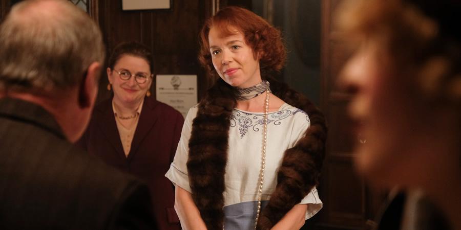 Urban Myths: Agatha Christie. Image shows from L to R: Dorothy L. Sayers (Rosie Cavaliero), Agatha Christie (Anna Maxwell-Martin).