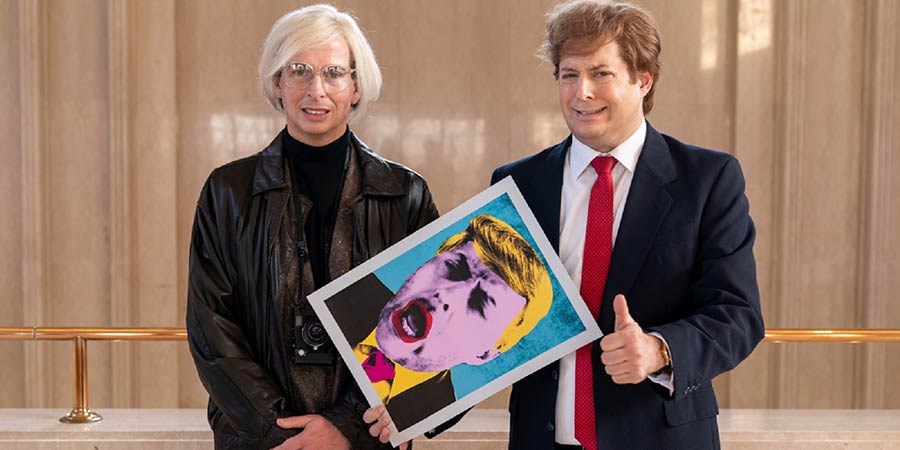 Urban Myths: Donald Trump And Andy Warhol. Image shows from L to R: Andy Warhol (Jack McBrayer), Donald Trump (Anthony Atamanuik). Copyright: Merman.