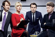 10 O'Clock Live. Image shows from L to R: David Mitchell, Lauren Laverne, Jimmy Carr, Charlie Brooker. Image credit: Zeppotron.