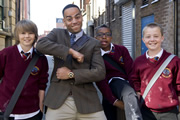 4 O'Clock Club. Image shows from L to R: Ryan (Oscar Lloyd), Nathan Carter (Ben Bailey Smith), Josh Carter (Khalil Madovi), Ash (Tom Rolinson). Copyright: BBC.
