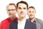 8 Out Of 10 Cats. Image shows from L to R: Sean Lock, Jimmy Carr, Jon Richardson. Copyright: Zeppotron.