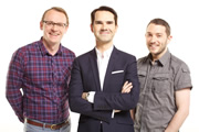8 Out Of 10 Cats. Image shows from L to R: Sean Lock, Jimmy Carr, Jon Richardson. Image credit: Zeppotron.