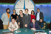 8 Out Of 10 Cats Does Countdown. Image shows from L to R: David O'Doherty, Lee Mack, Rachel Riley, Vic Reeves, Jimmy Carr, Susie Dent, Jon Richardson, Henning Wehn, Joe Wilkinson. Copyright: ITV Studios / Zeppotron.