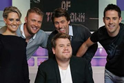 A League Of Their Own. Image shows from L to R: James Corden, Georgie Thompson, Andrew Flintoff MBE, James Corden, John Bishop, Jamie Redknapp. Image credit: CPL Productions.