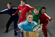A League Of Their Own. Image shows from L to R: Andrew Flintoff MBE, John Bishop, Georgie Thompson, James Corden, Jamie Redknapp. Image credit: CPL Productions.