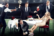 A League Of Their Own. Image shows from L to R: Jamie Redknapp, James Corden, John Bishop, Georgie Thompson, Andrew Flintoff MBE. Image credit: CPL Productions.