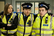 Above Their Station. Image shows from L to R: PCSO Kelly Eve (Ashley Madekwe), PCSO Perry Benson (Rhys Thomas), PCSO Len Orbison (Luke Gell). Copyright: Granada Productions.