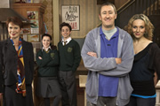 After You've Gone. Image shows from L to R: Diana Neal (Celia Imrie), Molly Venables (Dani Harmer), Alex Venables (Ryan Sampson), Jimmy Venables (Nicholas Lyndhurst), Siobhan Casey (Amanda Abbington). Copyright: BBC / Rude Boy Productions.