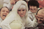 All Our Saturdays. Image shows from L to R: Stan Maycock (Norman Jones), Di Dorkins (Diana Dors), Frank Bosomworth (Anthony Jackson), Ken Hicks (Tony Caunter). Copyright: Yorkshire Television.