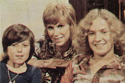 ...And Mother Makes Three. Image shows from L to R: Peter (David Parfitt), Sally Harrison (Wendy Craig), Simon (Robin Davies). Image credit: Thames Television.