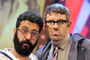 The Angelos Epithemiou Show. Image shows from L to R: Gupta (Adeel Akhtar), Angelos Epithemiou (Dan Skinner). Copyright: Pett Productions.