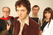 The Ape That Got Lucky. Image shows from L to R: Professor Austin Herring (Geoffrey McGivern), Chris Addison, Dan Tetsell, Jo Enright. Copyright: BBC.