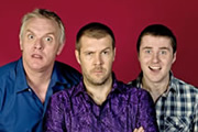 Ask Rhod Gilbert. Image shows from L to R: Greg Davies, Rhod Gilbert, Lloyd Langford. Image credit: Green Inc Film And Television.