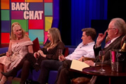 Backchat. Image shows from L to R: Lady Colin Campbell, Victoria Coren Mitchell, Rob Brydon, Michael Whitehall. Copyright: Tiger Aspect Productions.