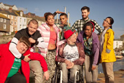 The Bad Education Movie. Image shows from L to R: Joe (Ethan Lawrence), Mitchell (Charlie Wernham), Chantelle (Nikki Runeckles), Stephen (Layton Williams), Rem Dogg (Jack Binstead), Alfie (Jack Whitehall), Chantelle (Nikki Runeckles), Jing (Kae Alexander). Copyright: Tiger Aspect Productions / Cave Bear Productions.