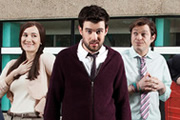 Bad Education. Image shows from L to R: Miss Gulliver (Sarah Solemani), Alfie (Jack Whitehall), Fraser (Mathew Horne). Copyright: Tiger Aspect Productions.