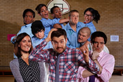 Bad Education. Image shows from L to R: Miss Gulliver (Sarah Solemani), Cleopatra (Weruche Opia), Rem Dogg (Jack Binstead), Chantelle (Nikki Runeckles), Stephen (Layton Williams), Alfie (Jack Whitehall), Grayson (Jack Bence), Joe (Ethan Lawrence), Jing (Kae Alexander), Fraser (Mathew Horne). Copyright: Tiger Aspect Productions.