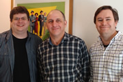 What Are You Laughing At? - The British Comedy Podcast. Episode 11. Image shows from L to R: Andrew Ellard, Dave Cohen, James Cary.