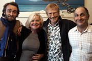 What Are You Laughing At - The British Comedy Podcast. Image shows from L to R: Tim Fitzhigham, Karen Koren, Phil Hammond, Dave Cohen.