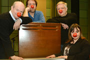Beastly Baroque. Image shows from L to R: Philip Pope, Mitch Benn, Simon Russell Beale, Felicity Duncan. Copyright: BBC.