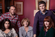 Being Eileen. Image shows from L to R: Mandy Lewis (Julie Graham), Pete Lewis (Dean Andrews), Eileen Lewis (Sue Johnston), Ray Cooper (William Ash), Paula Cooper (Elizabeth Berrington). Image credit: British Broadcasting Corporation.