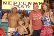 Benidorm. Image shows from L to R: Chantelle Garvey (Hannah Hobley), Mel (Geoffrey Hutchings), Michael Garvey (Oliver Stokes), Madge (Sheila Reid), Mick Garvey (Steve Pemberton), Janice Garvey (Siobhan Finneran). Image credit: Tiger Aspect Productions.