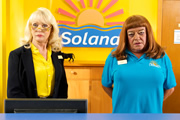 Benidorm. Image shows from L to R: Joyce (Sherrie Hewson), Les / Lesley (Tim Healy). Image credit: Tiger Aspect Productions.