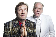 The Best Laid Plans. Image shows from L to R: Smallbone (Ardal O'Hanlon), God (Geoffrey McGivern). Copyright: Lucky Giant.