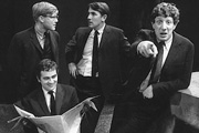 Beyond The Fringe. Image shows from L to R: Alan Bennett, Dudley Moore, Peter Cook, Jonathan Miller. Copyright: BBC.