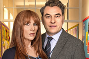 Big School. Image shows from L to R: Miss Postern (Catherine Tate), Mr Church (David Walliams). Copyright: BBC / King Bert Productions.