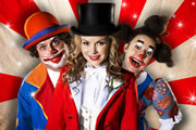Big Top. Image shows from L to R: Geoff (John Thomson), Lizzie (Amanda Holden), Helen (Sophie Thompson). Image credit: Big Bear Films.