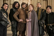 Bill. Image shows from L to R: Laurence Rickard, Simon Farnaby, Mathew Baynton, Martha Howe-Douglas, Ben Willbond, Jim Howick. Image credit: BBC Films.