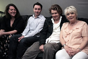 Bird Island. Image shows from L to R: Jane (Katy Wix), Ben (Reece Shearsmith), Graham (Julian Rhind-Tutt), Mother (Alison Steadman). Copyright: BBC.
