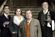 Blandings. Image shows from L to R: Freddie (Jack Farthing), Connie (Jennifer Saunders), Clarence (Timothy Spall), Beach (Mark Williams). Image credit: Mammoth Screen.