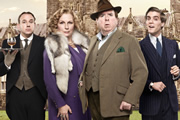 Blandings. Image shows from L to R: Beach (Tim Vine), Connie (Jennifer Saunders), Clarence (Timothy Spall), Freddie (Jack Farthing). Image credit: Mammoth Screen.
