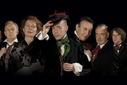 Bleak Expectations. Image shows from L to R: Mr Gently Benevolent (Anthony Head), Hardthrasher (Geoffrey Whitehead), Aunt Lily (Celia Imrie), Young Pip (Tom Allen), Mr Gently Benevolent (Anthony Head), Sir Philip Bin (Richard Johnson), Harry Biscuit (James Bachman). Image credit: British Broadcasting Corporation.