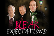 Bleak Expectations. Image shows from L to R: Grimpunch (Geoffrey Whitehead), Mr Gently Benevolent (Anthony Head), Young Pip (Tom Allen). Copyright: BBC.