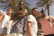 Blue Go Mad In Ibiza. Image shows from L to R: Lee Ryan, Simon Webbe, Antony Costa, Duncan James. Copyright: Potato.