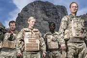 Bluestone 42. Image shows from L to R: Simon (Stephen Wight), Mary (Kelly Adams), Millsy (Gary Carr), Nick (Oliver Chris). Copyright: BBC.