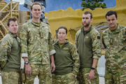 Bluestone 42. Image shows from L to R: Simon (Stephen Wight), Nick (Oliver Chris), Bird (Katie Lyons), Towerblock (Matthew Lewis), Lt Col Smith (Tony Gardner). Image credit: British Broadcasting Corporation.