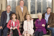 Boomers. Image shows from L to R: John (Russ Abbot), Maureen (Stephanie Beacham), Trevor (James Smith), Carol (Paula Wilcox), Joyce (Alison Steadman), Alan (Philip Jackson). Copyright: Hat Trick Productions.