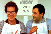 Brush Strokes. Image shows from L to R: Eric (Mike Walling), Jacko (Karl Howman). Image credit: British Broadcasting Corporation.