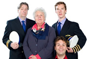 Cabin Pressure. Image shows from L to R: Douglas (Roger Allam), Carolyn (Stephanie Cole), Arthur (John Finnemore), Martin (Benedict Cumberbatch). Copyright: Pozzitive Productions.
