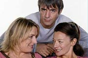 Carrie & Barry. Image shows from L to R: Carrie (Claire Rushbrook), Barry (Neil Morrissey), Michelle (Michelle Gomez). Image credit: Hartswood Films Ltd.