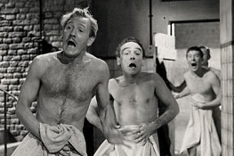 Leslie Phillips, Kenneth Connor and Kenneth Williams in Carry On Constable. Copyright: Made In Manchester Productions.