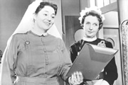 Carry On Nurse. Image shows from L to R: Matron (Hattie Jacques), Sister (Joan Hickson). Copyright: Peter Rogers Productions.