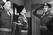 Carry On Sergeant. Image shows from L to R: Sergeant Grimshawe (William Hartnell), Corporal Copping (Bill Owen), Captain Potts (Eric Barker). Copyright: Peter Rogers Productions.